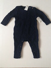 Baby Gap Boys Cable Knit 1 piece Romper Navy Size 6 9 12 18 24 m NWT ADORABLE