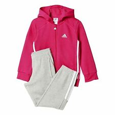 Girls Adidas Essentials Tracksuit Track Hoodie Top Bottoms Pink Grey Age 7 8 9