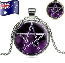 PENTAGRAM Pagan Wicca Witch Supernatural Glass Cabochon Purple Pendant Necklace