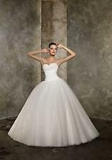 New White Ivory Pleat Beads Train Ball Wedding Dress 6 8 10 12 14 16 HUY767