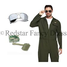 MENS AVIATOR PILOT COSTUME FANCY DRESS GLASSES AND DOG TAGS 1980S 80S OUTFIT