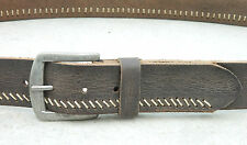 Genuine leather belt vintage grain brass buckle Men jeans trouser gift