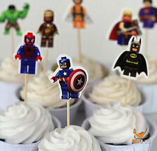 Boys Birthday Cake Toppers x 24 for fairy cakes and cupcakes (Hero)