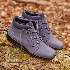 HOTTER INDULGE LADIES WOMENS ANKLE BOOTS LEATHER NUBUCK BLACK PLUM SIZE 8 42 EXF