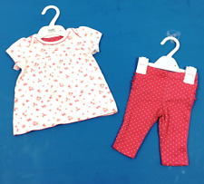 Ex M & S Baby Girls Pink Floral Spotty Dotty Top and Leggings Set Age 0 3 6 9 12