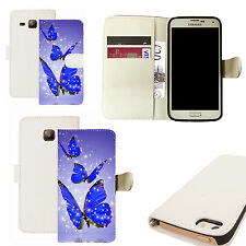 pu leather wallet case for majority Mobile phones -blue alluring butterfly white