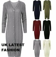 Womens Ladies Cable Knit V Neck Long Sleeve Maxi Cardigan with Buttons Size 8-16