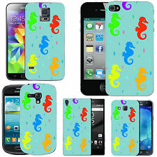 gel case cover for many mobiles - azure colourful seahorse droplet silicone