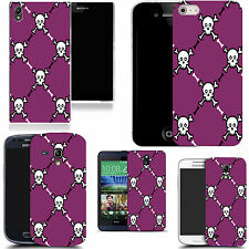gel case cover for many mobiles  - purple skull pictoral silicone
