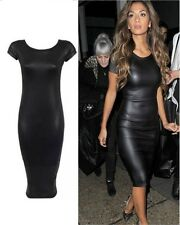 New women ladies cap sleeves wet leather look sexy midi dress stretchy bodycon