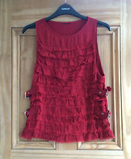 Topshop NEW Red Buckle Frill Ruffle Vest Top Size 6 8 10 14 Bnwot RRP = £32