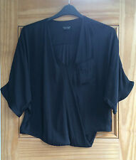 Topshop New Black Satin Feel Wrap Batwing Top Size 6 Bnwot RRP=£32
