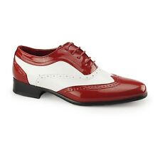 Mens Fancy Dress Spats Gangster Italian Brogue Patent Formal Shoes Red/White