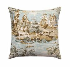 Covington Bosporus Flax Double Sided Pillow Cover, Blue Taupe Toile Pillow Cover
