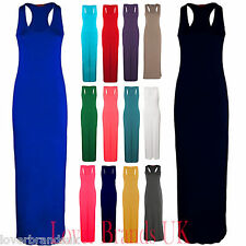 New Women Ladies Long Summer Vest Jersey Racer Muscle Back Maxi Dress UK 8-26