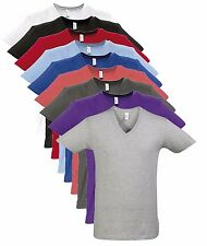 Mens Mans Plain Cotton Vee Neck T-Shirt V Neck T Shirt