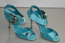 $1165 New Manolo Blahnik Turquoise Satin Silver Buckle Sandals Heels Shoes 39
