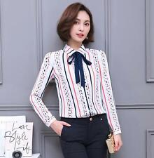 Women Bow Striped Long Sleeve Casual Chiffon Blouse Career OL Shirt Tops A+++