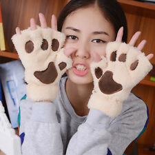 Lovely Women Cat Claw Paw Mitten Plush Glove Costume Gift Winter Half Finger New