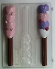 HEARTS (4) STACKED PRETZEL ROD VALENTINE CHOCOLATE CANDY MOLD PARTY FAVORS