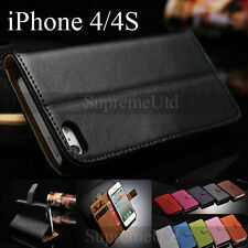 Genuine Smooth Leather iPhone 4 4S Side Flip Wallet Case Credit Card Cover
