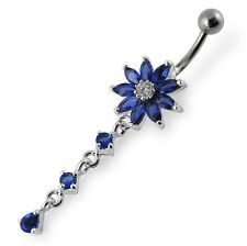925 Sterling Silver Fancy Color Stone Jeweled CZ Stone Button Belly Ring RTS