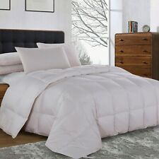 300TC Solid White Goose Down Comforter Oversize All Season Medium Warmth