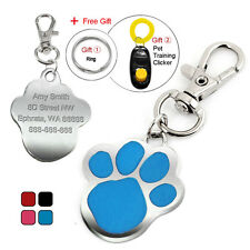 Personalized Paw Print Custom Pet Dog Tags Cat ID Name Tag Engraved Free Clicker