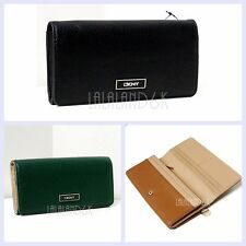 DKNY GRAIN PEBBLED LEATHER GREEN BLACK CARAMEL FLAP CLUTCH CHECKBOOK WALLET NWT