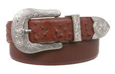 Western Ostrich Print  Stitching-Edged Leather Belt 2
