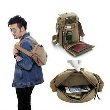 Vintage Mens Canvas Leather Satchel Military School Shoulder Bag Messenger Bag