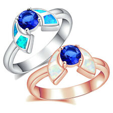 Great Jewelry 925 Sterling Silver K5/K17 Australian Fire Opal Sapphire Ring