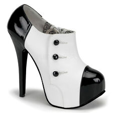 Bordello Teeze 20 Ladies Black White Concealed Shoes Platform Heel Pump