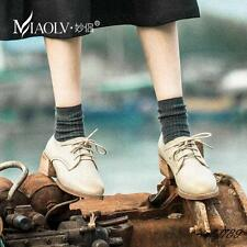 Womens Casual Retro Preppy Block Heels Oxford Lace Up England Brogue Style Shoes