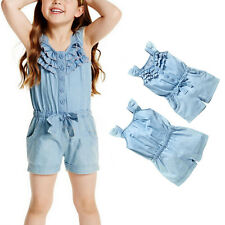 Toddler Kid Girls Jeans Denim Romper Pants Casual Bow Jumpsuit Trousers Shorts