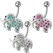 14 Guage 925 Sterling Silver Fancy Jeweled Elephant Non-Moving Belly Ring  RTS