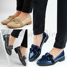 Womens New Casual Loafers Suede Bow Patent Brogue Flats Office Smart Shoes Sizes