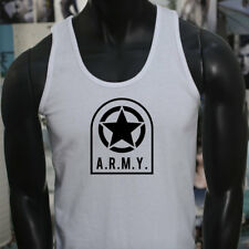 ARMY STAR PATCH NAVY ARMED FORCES MILITARY MARINE Mens White Tank Top