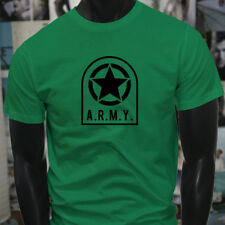 ARMY STAR PATCH NAVY ARMED FORCES MILITARY MARINE Mens Green T-Shirt