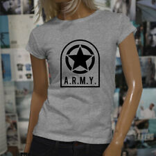 ARMY STAR PATCH NAVY ARMED FORCES MILITARY MARINE Womens Gray T-Shirt