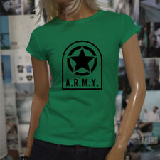ARMY STAR PATCH NAVY ARMED FORCES MILITARY MARINE Womens Green T-Shirt