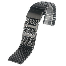 20/22/24mm Watch Band Black Stainless Steel Shark Mesh Solid Link Men Bracelet