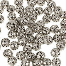 4/ 6/8/10mm Gray PLATED FILIGREE Spacer Metal Beads Jewelry Making Choose