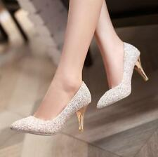 Women's Sweet sparkling Elegant Shoes Bride Classic Pumps Bling Stiletto Heels