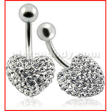316L Surgical Steel Beautiful Crystal stone Heart With SS Bar Belly Button Ring
