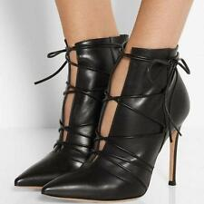 New Womens High Heels Stilettos Pointy Toe Pumps Lace Up Ankle Boots Shoes Black