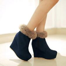 Womens Wedge Heels Side Zipper Faux Suede Lady ankle Boots@BLACK/BLUE