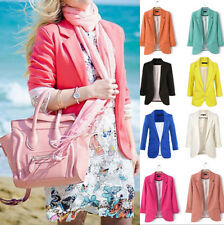 Candy Color Women Casual Slim Solid Suit Blazer Jacket Coat Outwear Fashion