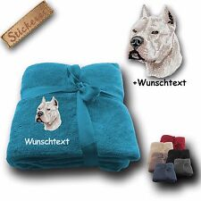 Fleecy Cuddle Blanket Pit Bull Terrier +Custom text, Embroidery, 180x130cm
