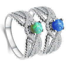 Inlay Gorgeous Round White Opal 925 Sterling Silver Wedding Ring Size 6-9